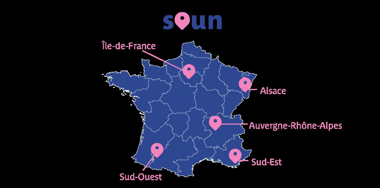 Nous sommes implantés en Île-de-France, Alsace, Auvergne-Rhône-Alpes, Sud-Est et Sud-Ouest.