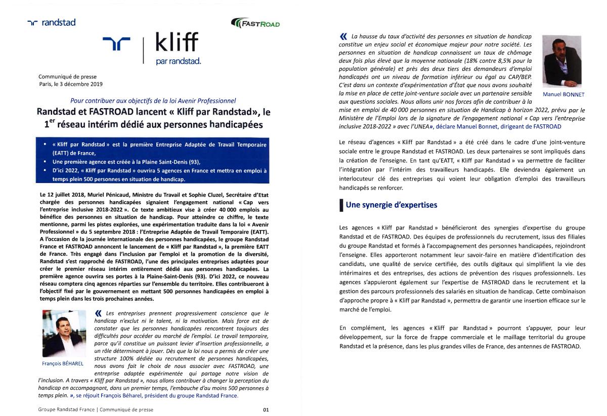 RANDSTAD et FASTROAD lancent « KLIFF by RANDSTAD », le 1er réseau intérim dédié aux personnes handicapées.